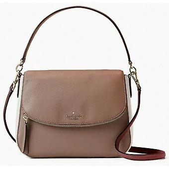 Kate Spade Jackson Brown White Leather Flap Shoulder Bag WKR00070