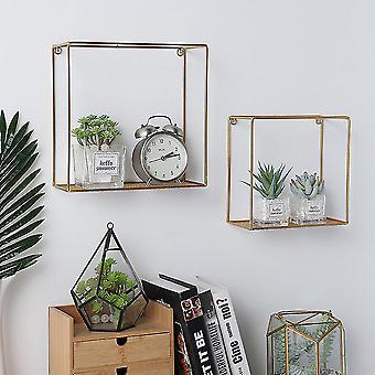 Set von 2 Gold Metall Quadratische Display Wand Regal