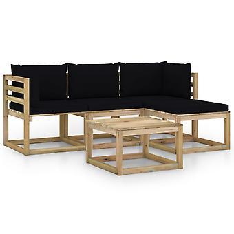 vidaXL 5 pcs. Garden Lounge Set with Black Pillows