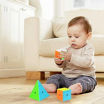 Speed Cube Set Pyramid Stickerless Magic Cube Bundle Christmas Puzzles Toy For Kids (3 Pack)