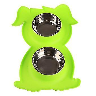 Ruostumaton teräs Double Pet Bowl KoiraKissa Twin Food Water Dish Feeding Station (vihreä)