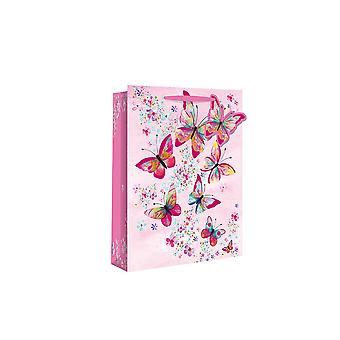 SIDSTE PAR - Parfume Style Papir Gavepose - Farverige Butterfly - 20x12x9
