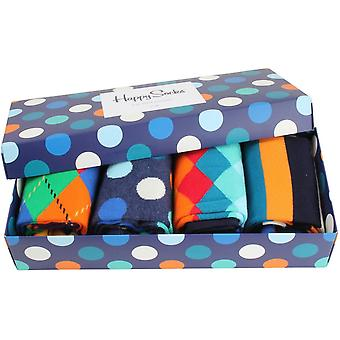Happy Socks blandade mönster 4-Pack gåva rutan strumpor - Multi färg