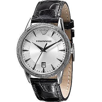 Emporio Armani AR2443 Silver Dial Negro Correa de Cuero Damas Reloj de Mujer