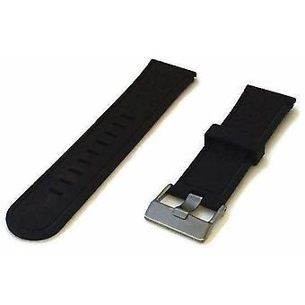 (Μαύρο) Μαύρος λαστιχένιος λουρί ρολογιών ομαλός με την ευρεία πόρπη ανοξείδωτου γλώσσας 24mm