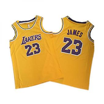 Basket-ball masculin Jersey Lakers 23 James 34 O'neal 8 24 Bryant Space Retro Jersey Outdoor Sports T-shirt Jaune S-xxl