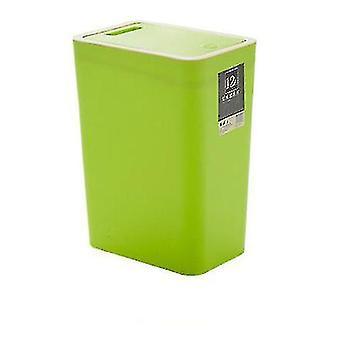 12 liter sortering av søppelbøtte, rektangulær plast husholdningsavfall med lokk (grønn)