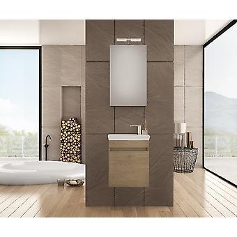 Set Mobili Luxus , Colore legno, Bianco in Truciolare Melaminico, LPB, Ceramica, Alluminio, ABS, Unita' Base con Lavabo: L45xP25xA50 cm