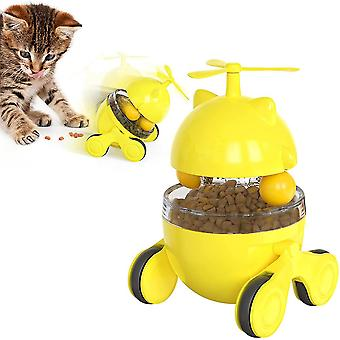 Tumbler Interactive, Double Track Ball, Cat Turntable, Leaky Food Ball, Tease Cat Car, Self Hi Toy, With Track Car (jaune)