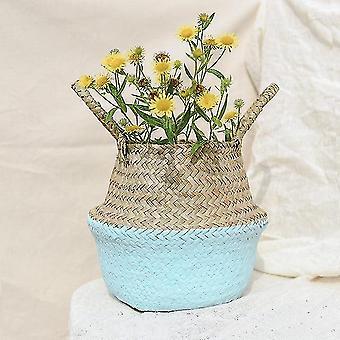 Handmade Bamboo Foldable Hanging Storage Baskets - Straw Patchwork Wicker