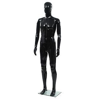 Ægte størrelse mandlig mand-modellering på glas base sort 185 cm