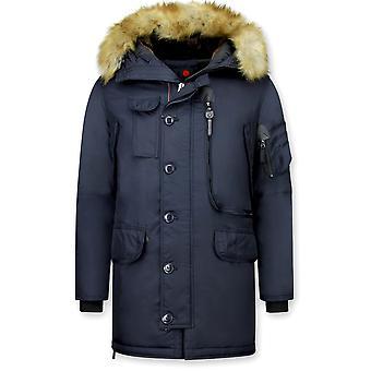 Long Winter Coats With Fur Collar - Extra Long - Blue