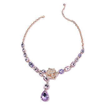 Kragen Halskette 20 '' Multiple Glass, Kristall für Frau / Mutter in Stahl 2.2ct
