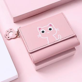 1pc Neue Frauen Brieftasche Süße Katze Kurze Brieftasche Leder Kleine Geldbörse Mädchen Geldbeutel Kartenhalter Damen Weiblich Hasp 2021 Mode