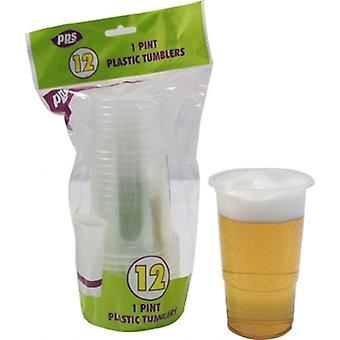 12pcs 1 Pint Plastic Tumblers Disposable Party Drink Glasses