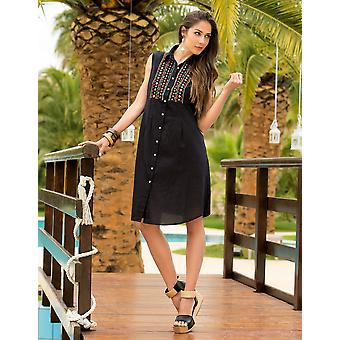 Iconique IC7-030 Women's Black Aztec Embroidered Camisole Beach Dress