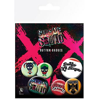 Suicide Squad Official Character Button Badges (Pack Of 6)