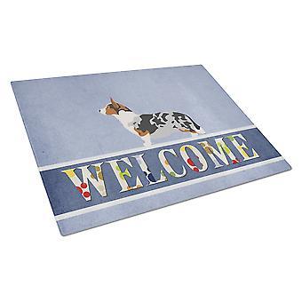 Welsh Corgi Cardigan Welcome Glass Cutting Board Large