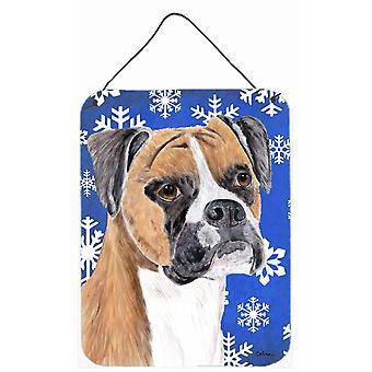 Boxer talvella lunta Holiday alumiini metalli seinän tai ovi roikkuu tulosteita