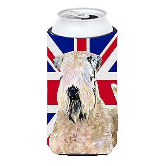 Wheaten Terrier suave cubierta con altura de Bevera muchacho alto bandera británica de inglés Union Jack