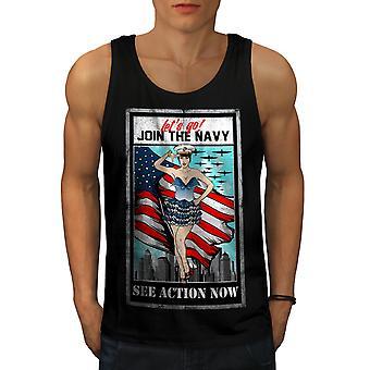 Join The Navy Men BlackTank Top | Wellcoda