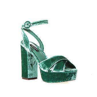 Dolce & Gabbana Sandalen mit Plattform in grünem Samt