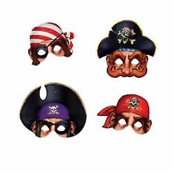 Pirate Masken Karton mit elastischen hält (4/Pkg)