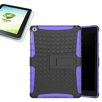 Hybrid outdoor protective case purple for NEW Apple iPad 9.7 2017 bag + 0.4 H9 tempered glass