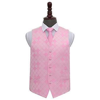 Ljus rosa diamant bröllop väst & slips Set