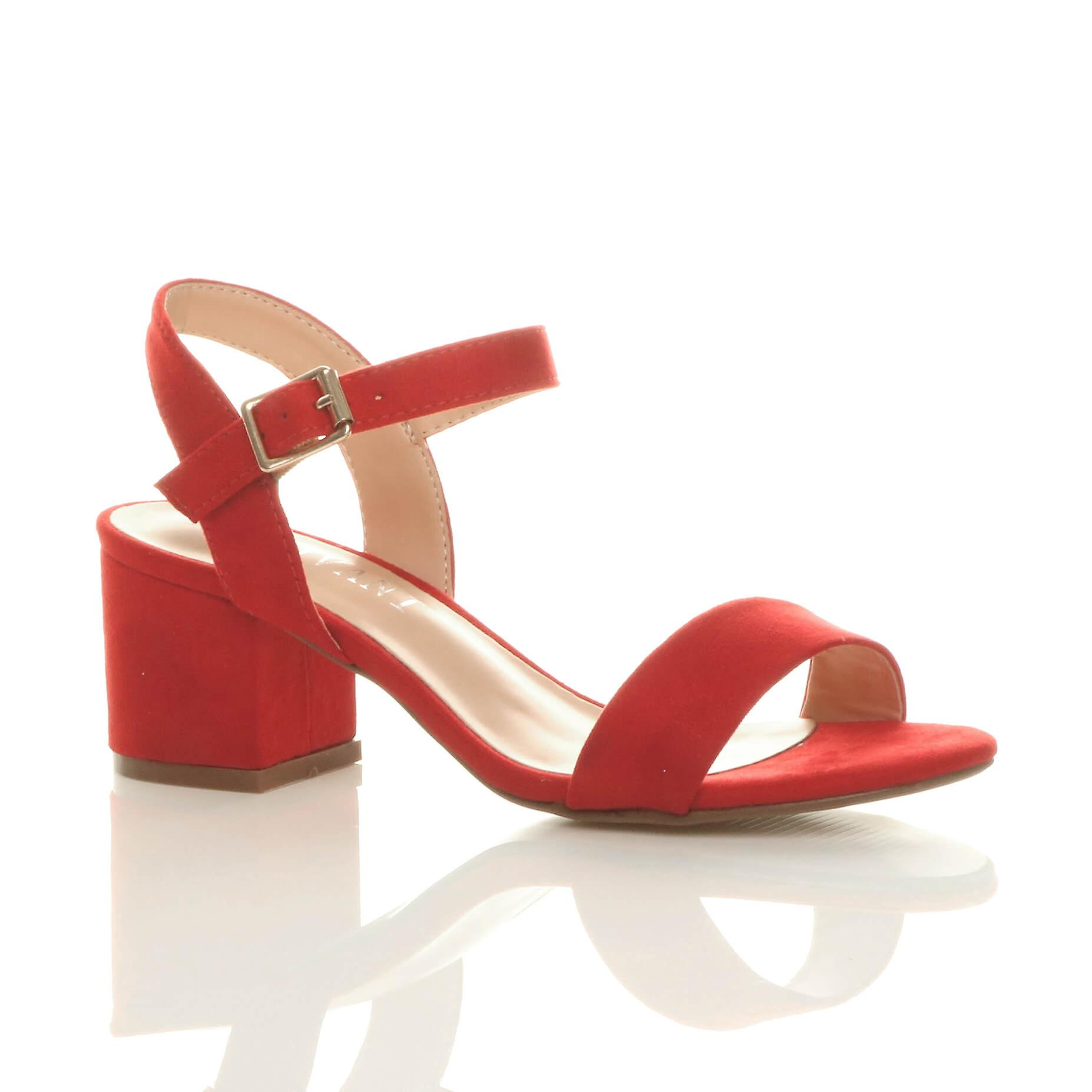 red strappy sandals mid heel