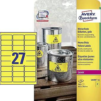 Avery-Zweckform L6105-20 Labels 63.5 x 29.6 mm Polyester film Yellow 540 pc(s) Permanent All-purpose labels, Weatherproof labels