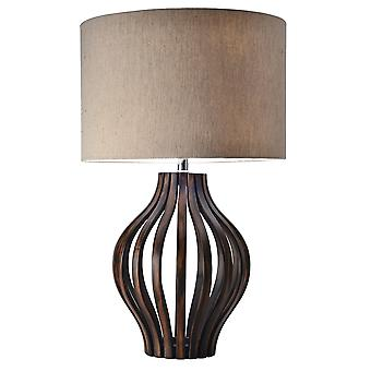 Modern Home Rotterdam Bentwood Espresso Table Lamp w/Natural Jute Shade