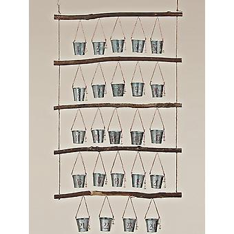 Advent calendar to Auto filling metal bucket wood branches RUSTICA to hang special price