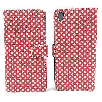 Mobiele zaak zak voor mobiele telefoon Sony Xperia XA polka dot Red