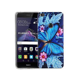 Mobile Shell for Huawei P8 Lite 2017 dækning case beskyttende taske motiv slim TPU + rustning beskyttelse glas 9 H blå sommerfugl