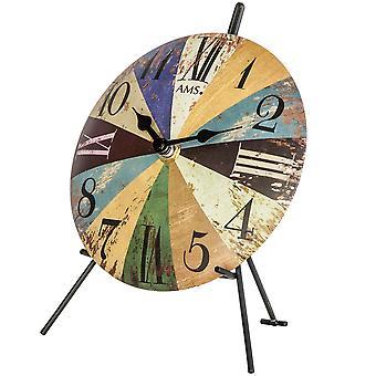 färgglada tabell klocka bord klocka quartz metall ringa färgglada tryckta Vintagelook