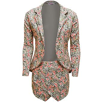 Damen Sam Faiers Celeb inspiriert Floral Print Damen zwei Stück Blazer kurz Set