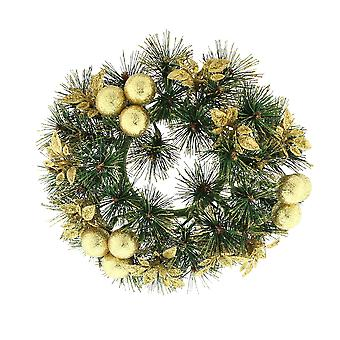 Festive Productions 20cm Gold Glittered Pine Candle Ring Christmas Wreath
