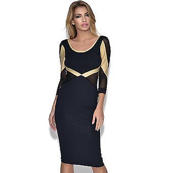 Quontum Long Sleeve Black Gold Mesh Dress