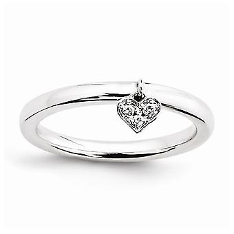 925 Sterling Silver Polished Prong set Rhodium plated Stackable Expressions Dangle Heart Diamond Ring Jewelry Gifts for