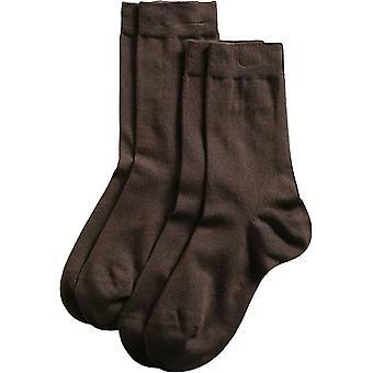 Esprit Basic Fine Knit Mid-Calf 2 Pack Socks - Dark Brown