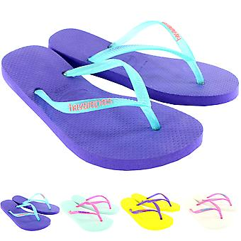 Womens Havaianas Slim Logo Beach Flip Flops Summer Holiday Sandal