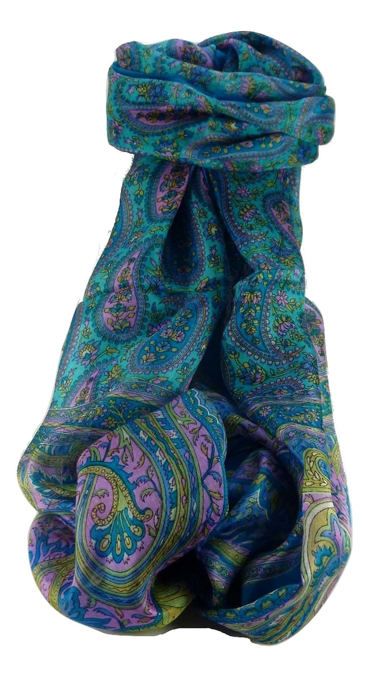 Mulberry Silk Traditional Long Scarf Couum Aqua by Pashmina & Silk