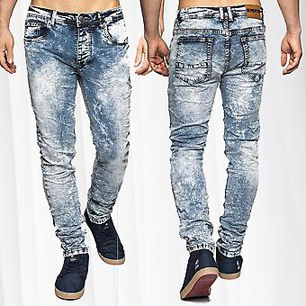 Denim Jeans Stretch Slim Fit Vintage hommes blanchis Style 5 poches Knitter