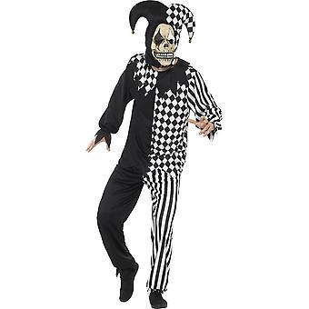 邪悪な道化師の衣装、黒・白、トップ、パンツ、カチューシャ ・ ラテックス マスク