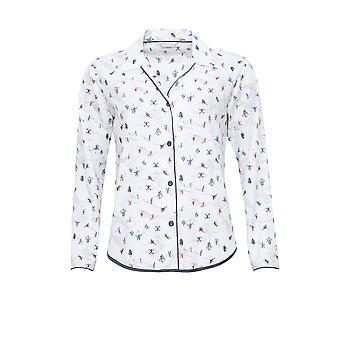 Cyberjammies 4084 Women's Aspen White Skiing Print Pyjama Top