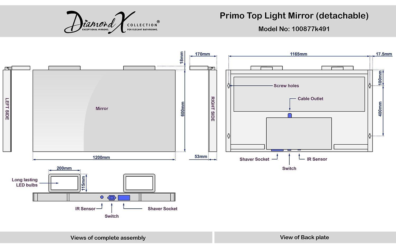 Primo haut lumière miroir (amovible) avec capteur et prise rasoir k491