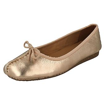 Ladies Unstructured By Clarks Ballerina Flats Freckle Ice 17 - Rose Gold Leather - UK Size 4.5D - EU Size 37.5 - US Size 7M