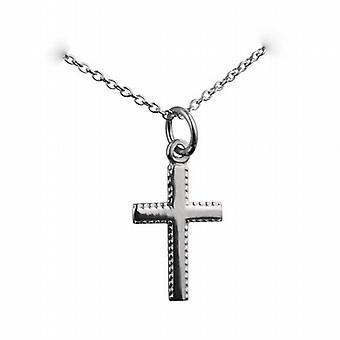 Zilveren 17x11mm gewone gemalen rand Latijns kruis met een rolo ketting 24 inch