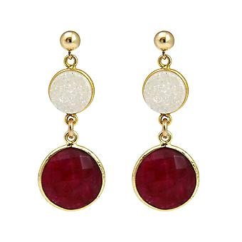 Gemshine earrings red rubies and white agate gemstones in 925 silver plated